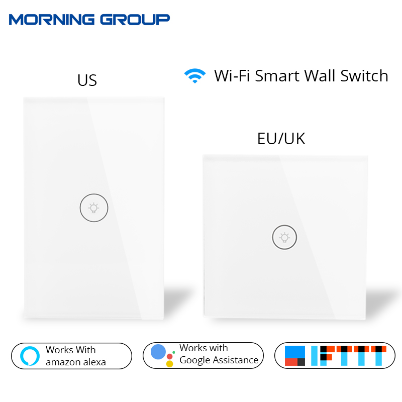Wifi Smart Wall Touch Switch Glass Panel Mobile APP Remote Control No Hub Required work with Amazon Alexa Google Home US EU UK work with amazon alexa google home 90 250v smart wi fi switch glass panel uk 3gang touch light wall switch ewelink app