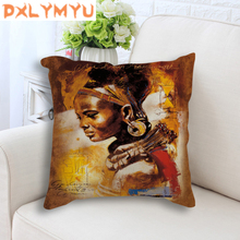 African Girl Lady Oil Painting Decorative Cushion Black Women Home Art Decoration Sofa Throw Pillow Case Linen Cushion Cover цена