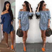 Women Off Shoulder Mini Denim Jeans Buttons Wrap Dress Solid Slash Neck  Blue Summer Costume Size c923da9d9