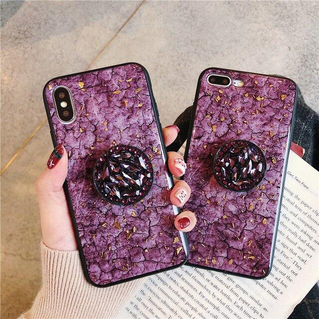 Glitter mermer elmas yüzük tutucu silikon telefon kılıfı için iphone 7 8 6 S artı X XR XS 11 Pro MAX samsung S8 S9 S10 not 8 9