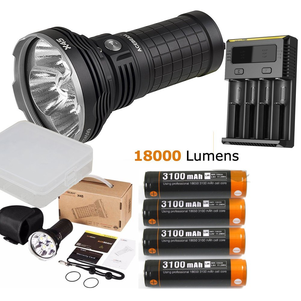 Acebeam X45 II 4Cree XHP70.2 LEDs MAX 18000 lumens beam distance 660M high lumen outdoor flashlight + batteries + I4 charger