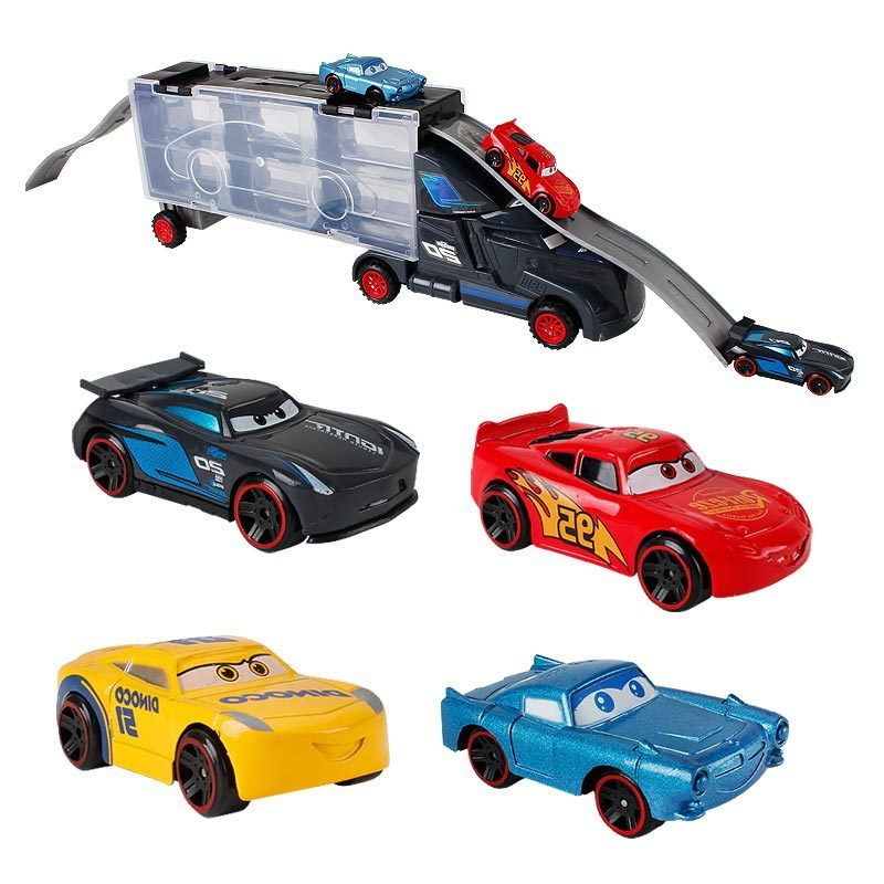 Disney Pixar Cars 3 Lightning Mcqueen Truck <font><b>Hauler</b></font> With 6 Small Cars Jackson Storm Diecast Metal Alloy Toys Gift For childrens image