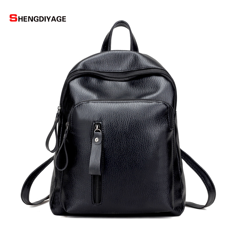 SHENGDIYAGE Women Backpack 2017 NEW fashion backpack women backpack PU Leather school bag women Casual style