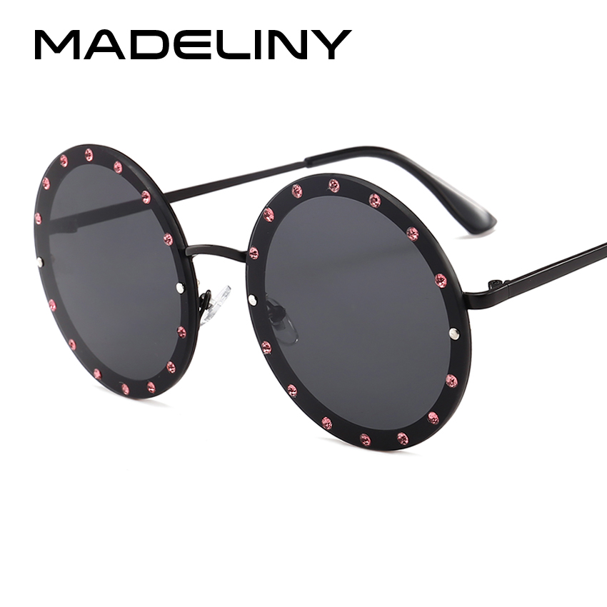 MADELINY 2018 Rhinestone Oversized Round Women Sunglasses New Summer Style For Female Brand Design Metal Shades UV400 MA045