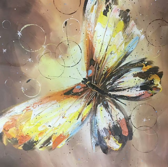 Colourful Butterfly Canvas Painting   Hand Painted Modern Abstract Animal  Oil Painting On Canvas Wall