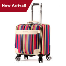 New arrival commercial 16inches rainbow luggage fashion mini universal wheels trolley luggage travel suitcase waterproof(China)