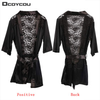 1 PC Hot Sexy Lingerie Satin Lace Black Kimono Intimate Sleepwear Robe Sexy Night Gown Women