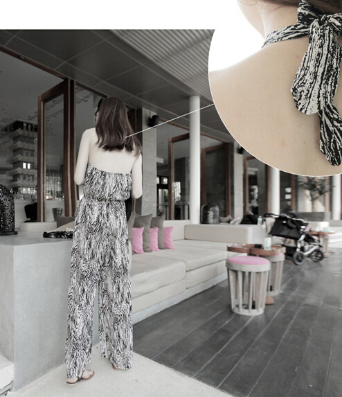 Free Shipping High Quality Hot Sale Korean Leisure Leopard Halter Neck Woman Chiffon Jumpsuit 4