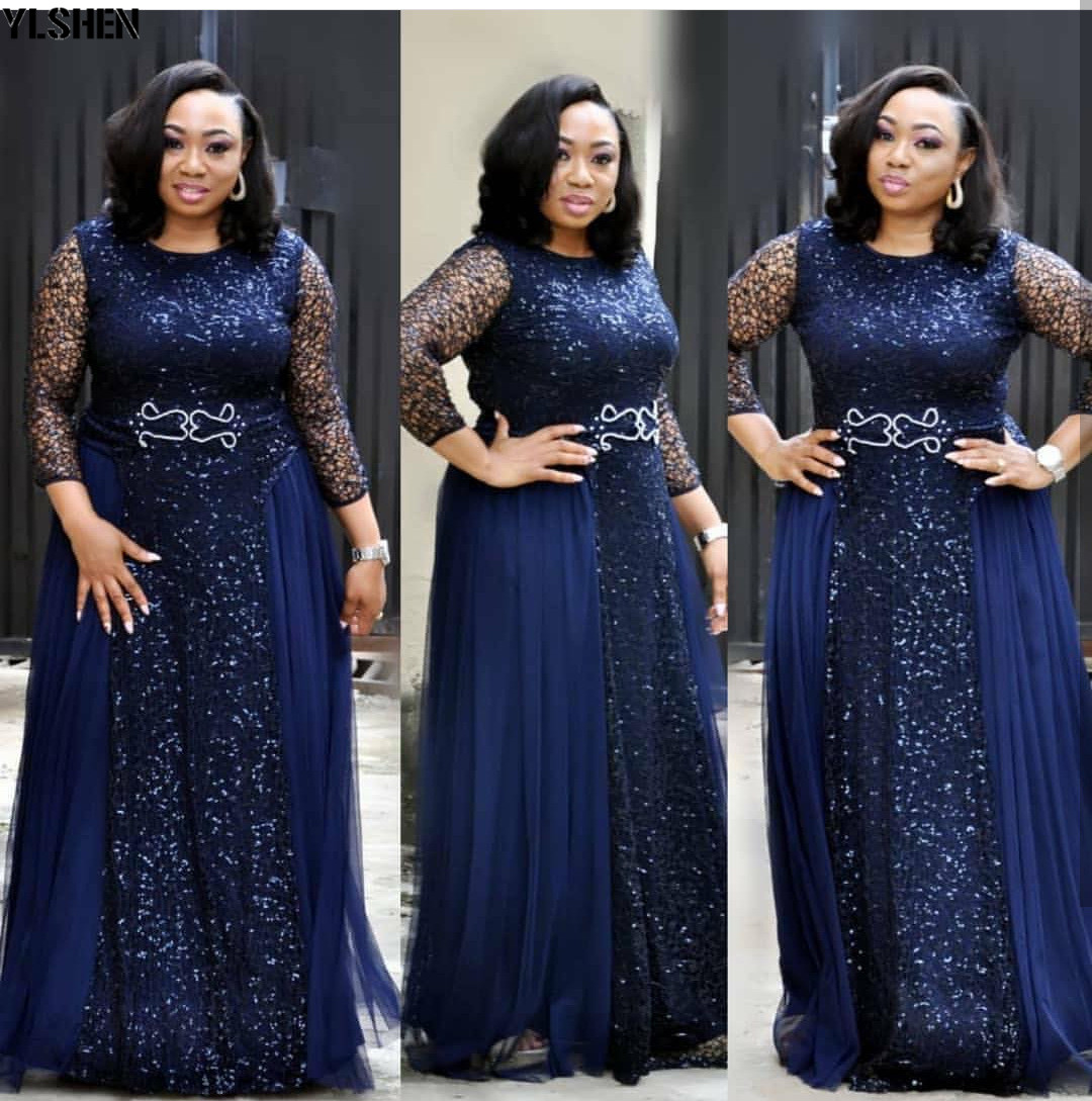 African Dresses For Women Lace Sequins Dashiki African Clothes Bazin Broder Riche Sexy Party Wedding Robe Evening Long Dress