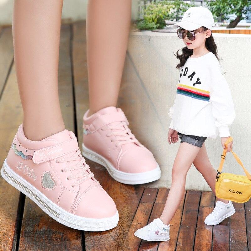 KRIATIV 2019 Autumn New Kids Shoes For Girl Toddler Slippers Tenis Infant Children Sneakers White Heart Shape Love Baby Shoe