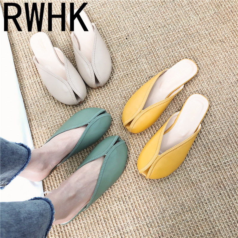 RWHK Slippers female 2019 new summer low with half slippers womens fashion women wear non-slip B498
