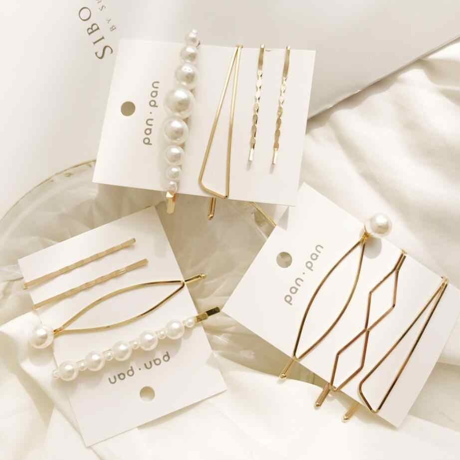 3Pcs/Set Pearl Metal Hair Clip Hairband Comb Bobby Pin Barrette Hairpin Headdress Accessories Beauty Styling Tools drop shipping