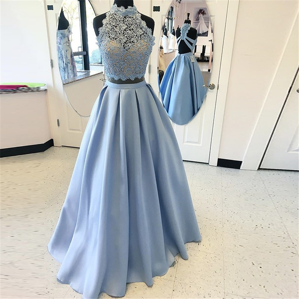 Hot Selling 2019 Mint Blue 2 Piece   Prom     Dresses   High Neck Lace Top Satin Cut Out Long Formal   Dress   Cheap Women Party Gowns