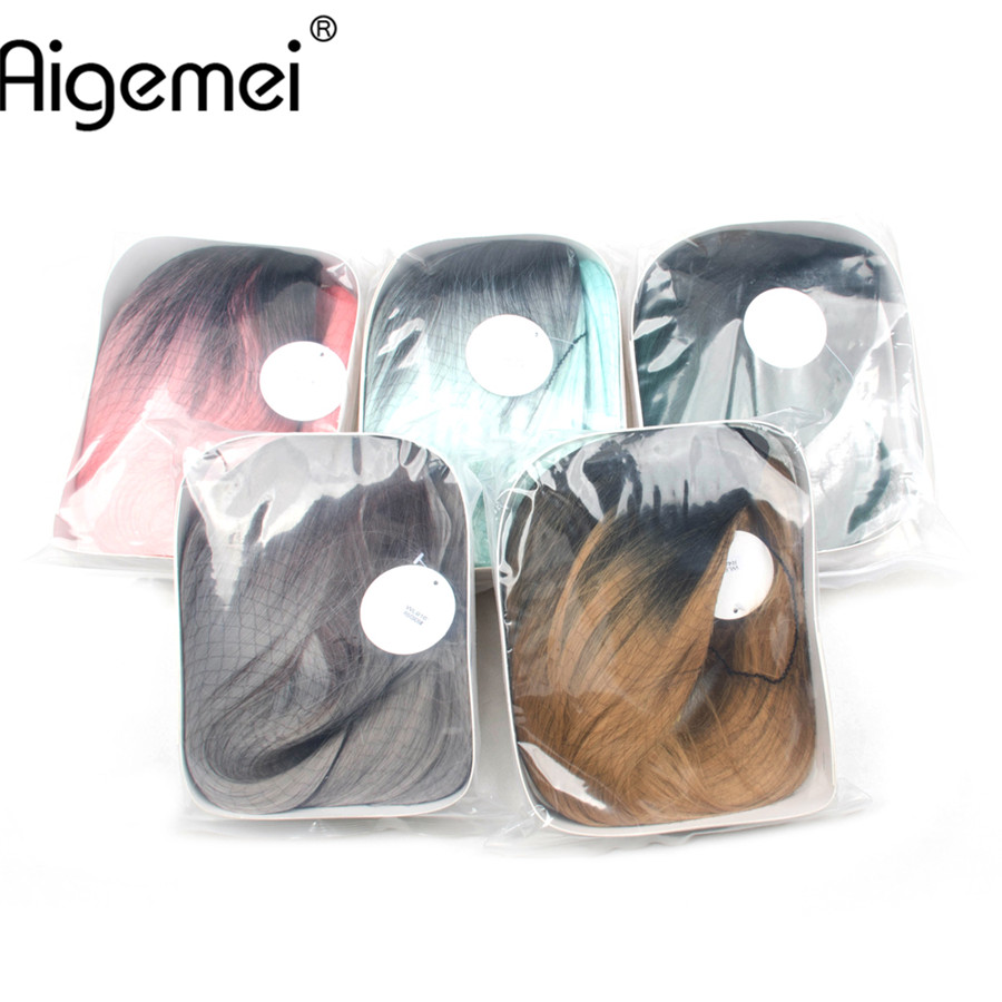 Aigemei Long Stright Synthetic Ombre Wigs For Women 26 Inch Long Straight Wigs Heat Resistant Hair