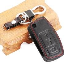 VCiiC אמיתי עור כיסוי עבור פורד פיאסטה פוקוס 2 Ecosport Kuga בריחה רכב Flip מתקפל מרחוק מפתח Case 3 לחצנים