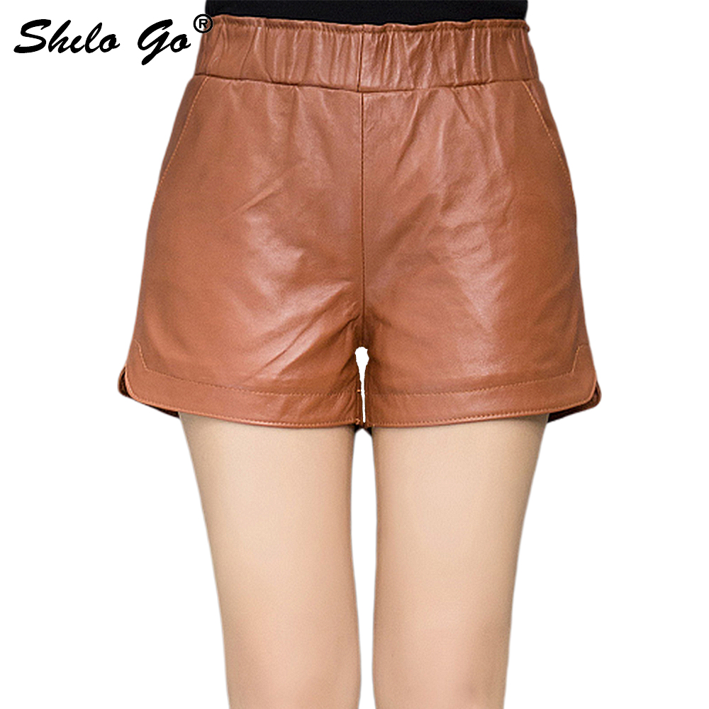 Leather Shorts Womens Winter Fashion Sheepskin Genuine Leather Shorts Stretch High Waist Concise Loose Wide Leg Shorts