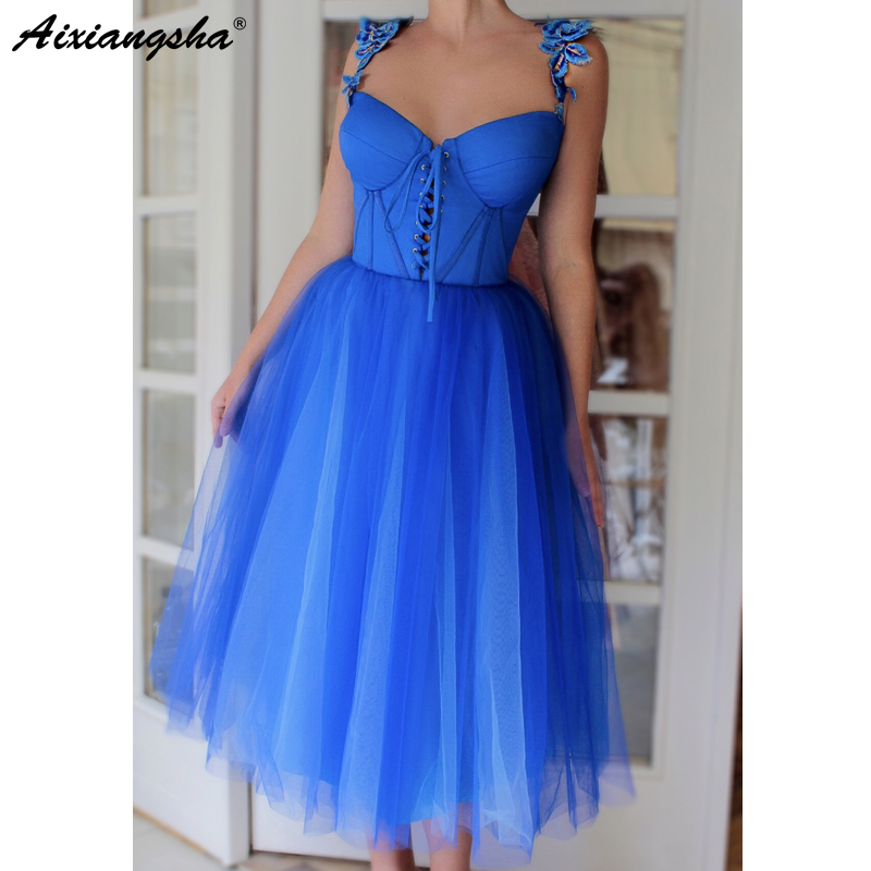 Blue Prom Dresses 2019 A-Line Tulle Party Maxys Sweetheart Straps Knee Length Prom Gown vestido formatura Plus Size Prom Dress