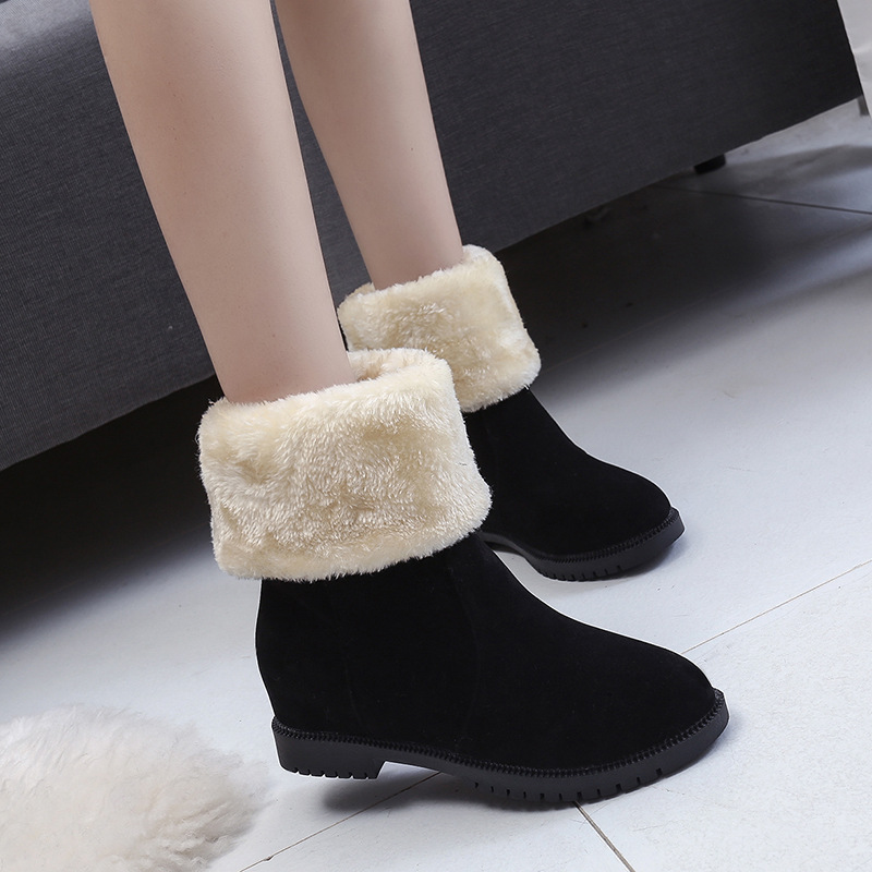 Jookrrix Winter Fashion Women Snow Boots Black Pu Leather Lady All-match Flats Shoe Female Warm Furry Ankle Boots Brown Booties jookrrix autumn winter fashion women chelsea boots black lady shoe all match ankle boots female warm booties zipper low heel