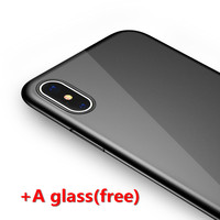 Red Black Matte Case For Iphone 8 Ultra Thin PP Case Transparent Glass 360 Screen Protector