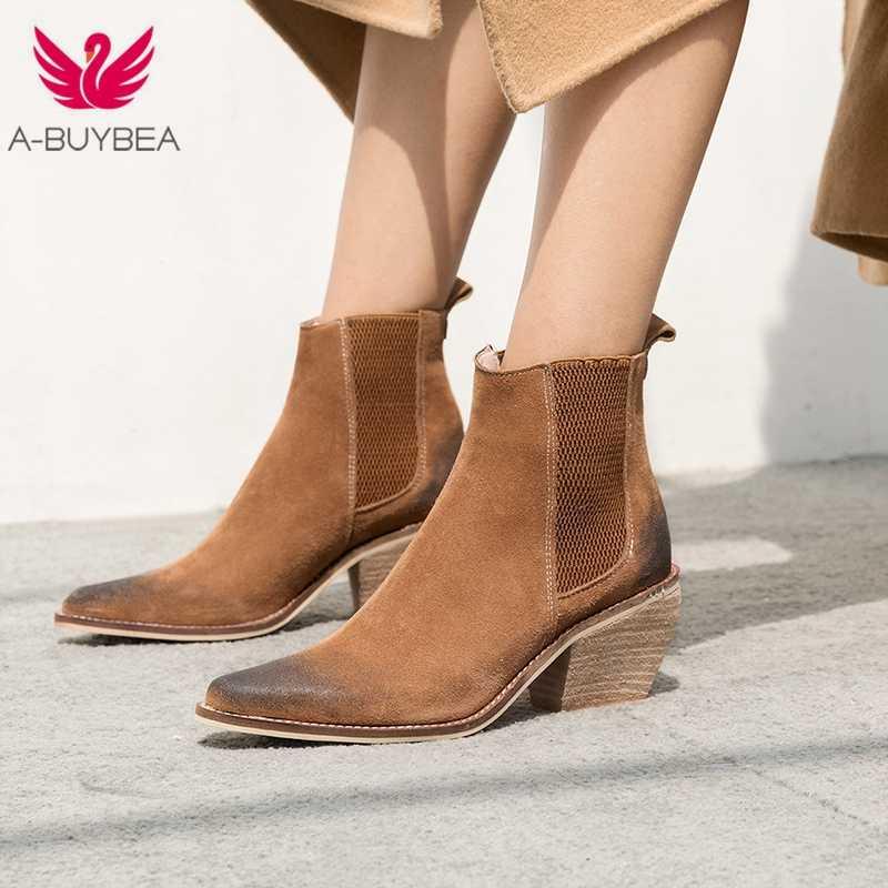 Botines de Mujer de cuero genuino Botas de tacón alto Sexy puntiagudos zapatos de moda de invierno Mujer Botas Mujer