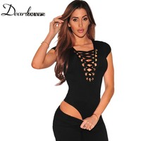 Dear lovers Hottest Body Suits For Women Black Grey White Cross Strings Front Lace Up Cap Sleeves Sexy Bodysuit Monokini LC32048
