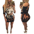2016 fashion summer 2piece set women slash neck crop top and mini skirts sents sexy ensemble femme v neck vestidos club night