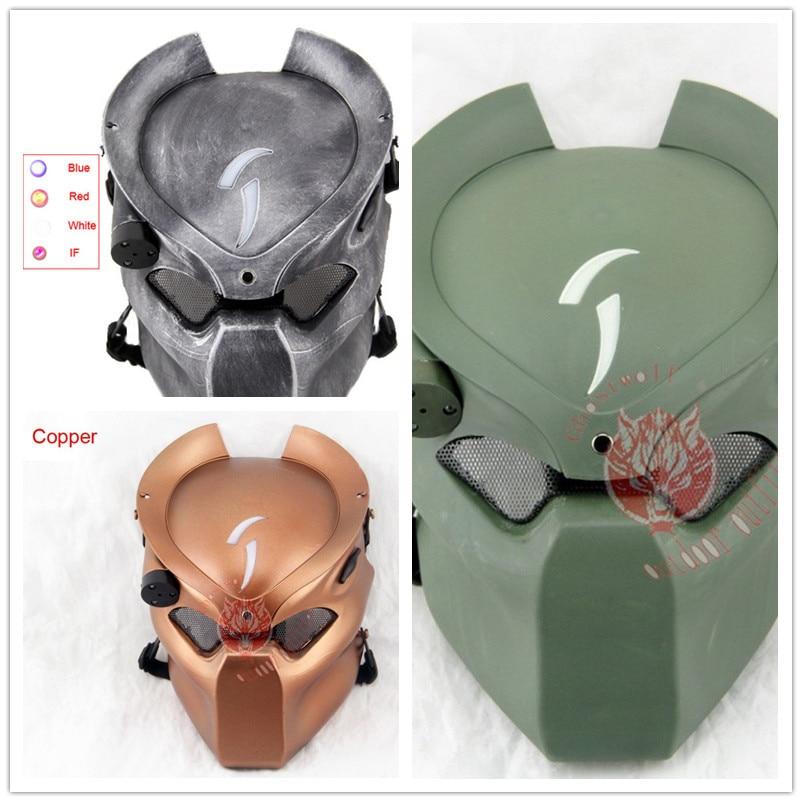 Aline Predator Hunter Halloween fiesta de Pascua casco máscara con luz infrarroja táctica Airsoft máscara Cosplay película Prop cascos