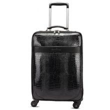 New fashion style vintage 20inch pu leather travel luggage bag on universal wheel,men and women black trolley luggageFGF-0004-20