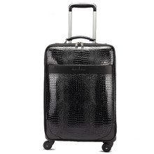 New fashion style vintage 20inch pu leather travel luggage bag on universal wheel,men and women black trolley luggageFGF-0004-20