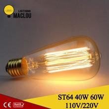 Retro lamp st64 vintage edison bulb e27 incandescent bulb 110v 220v holiday lights 40w 60w filament lamp lampada for home decor