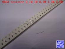 0603 F SMD resistor 1/10W 9.1M 1M 8.2M 1.3M 3.6M ohm 1% 1608 Chip resistor 500PCS/LOT