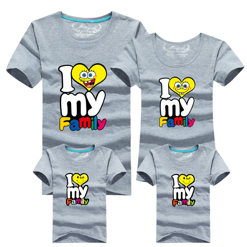 8 Colors I Love My family printed family clothing cotton ...