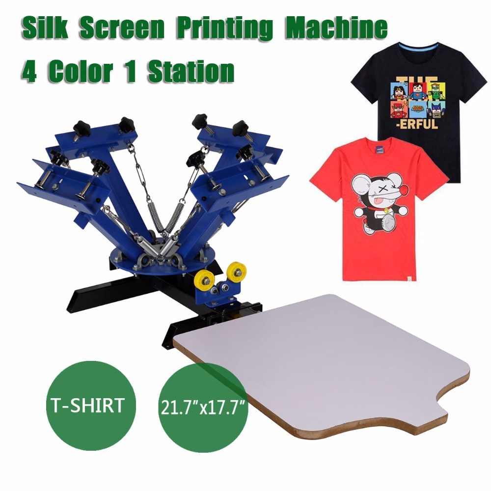 4 Color 1 Station Silk Screen Commercial Printing Press Machine Blue discount with gift 4 1 color silk screen printing machine tshirt printer press equipment carousel 48t mesh fast free shipping