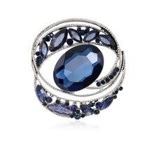 Новые винтажные серебро заполнено чернильно-синий австрийский хрусталь брошь Булавки букет горный хрусталь броши для платья украшения для женщин