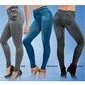Fashion Women Skinny Fit Slim Jeans Leggings Elastic High Waist Pencil Pants Casual Imitate Denim Legging Jeggings