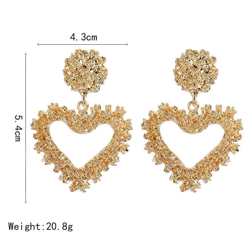 2019 New Trendy metali ciężkich serce spadek kolczyki złoty kolor Hollow geometryczne dynda kolczyki dla kobiet biżuteria punkowa