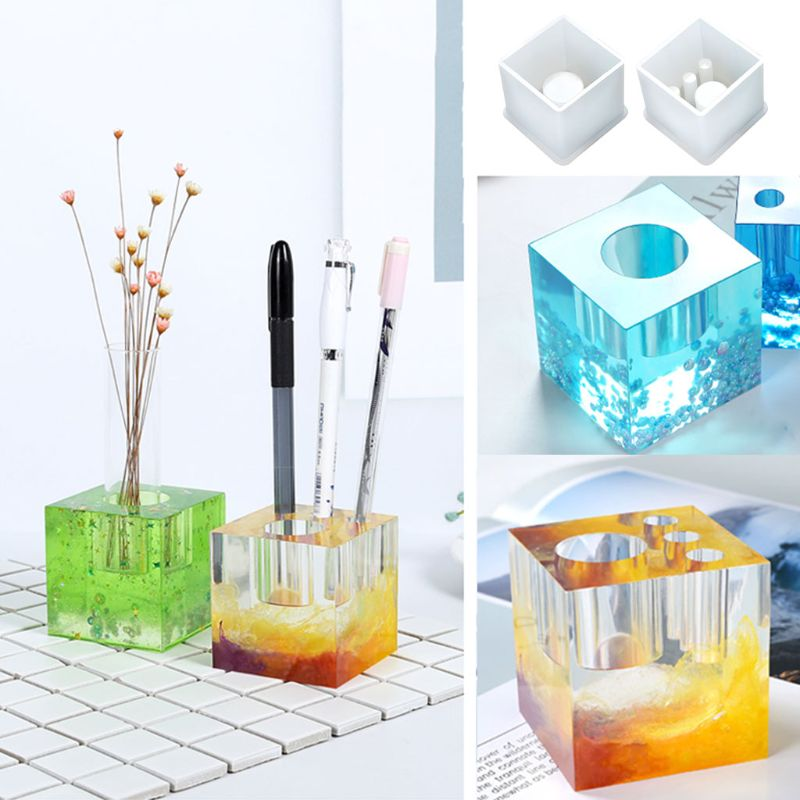 UV Resin Silicone Mold Pen Holder Flower Insert Silicone Mold Handmade Flowerpot Aquatic Plant Potted DIY Mirror Making Molds Gi