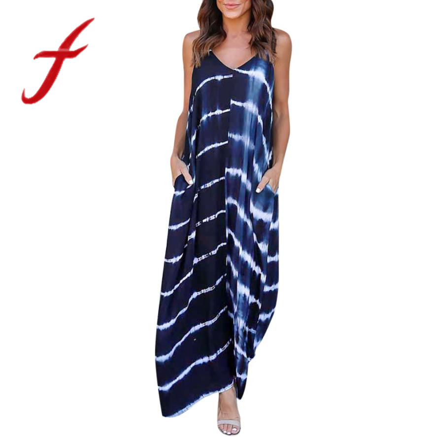 Feitong Women Summer Dress Striped Wave Printed Long Maxi Dress Sexy Strappy Deep V Low Cut Beach Dress vestidos femininos 2018