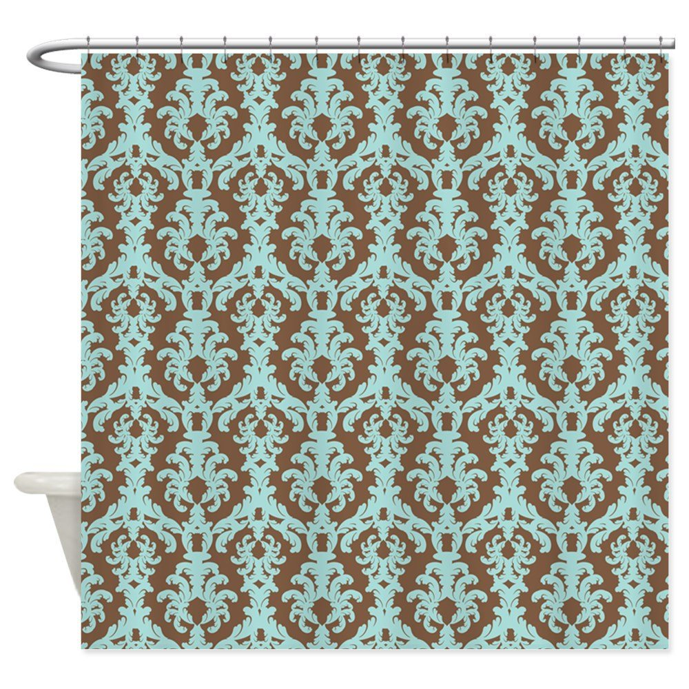 Carved Damask Rug: Chocolate Brown And Turquoise Damask Shower Curtai
