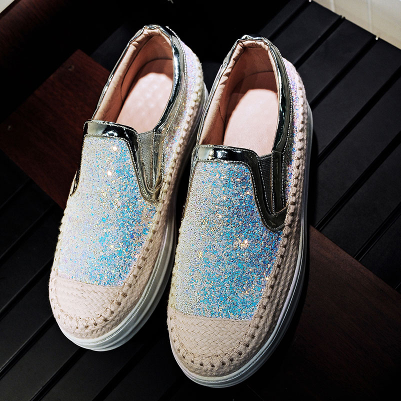 Women Loafers Casual Platform Shoes Woman Fashion Glitters Espadrilles Women Famous Spring Autumn Creepers brand Ladies  Shoes phyanic 2017 gladiator sandals gold silver shoes woman summer platform wedges glitters creepers casual women shoes phy3323