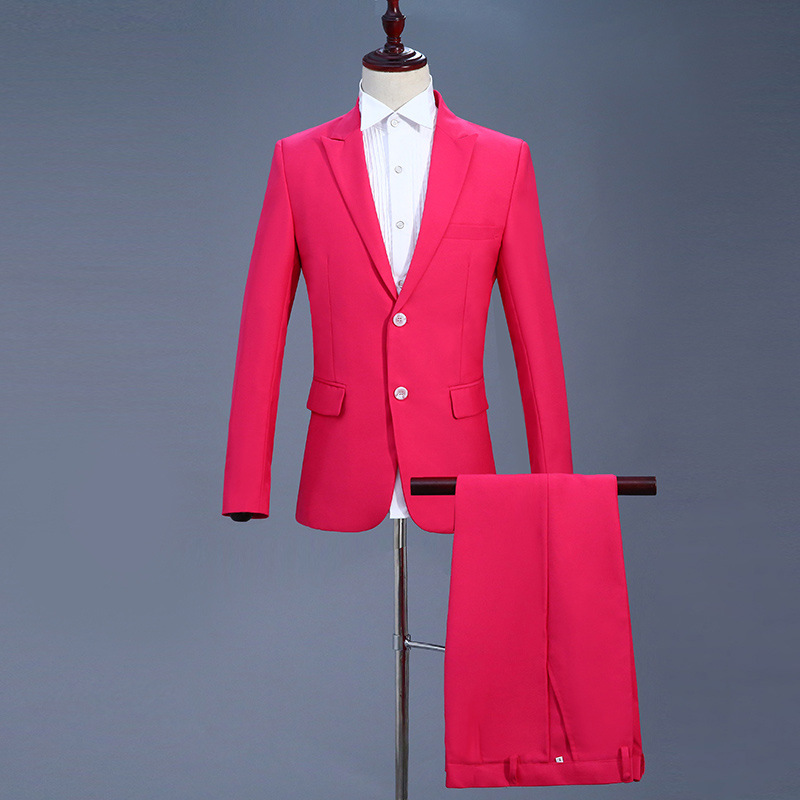 Suits Men 2019 Long Sleeve Dress Mens Casual Wedding For Blue Solid Red Suit Slim Fit Clothing Red Two Piece Set Coat Pants