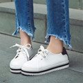 New 2017 women oxford shoes flats shoes moccasins lace-up Student Casual Shoes Solid Leather Loafers Shoes Plus Size 34-43