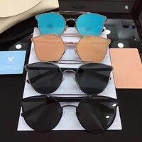 إضافة القمر الفاخرة مصمم v كوريا خمر لطيف الرجال معدن نظارات المرأة مرآة عدسة gm gafas oculos دي سول