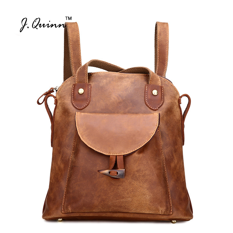 J.Quinn Women Backpack Genuine Leather Vintage Brown School Girl Shoulder Bag Ladies Backpacks Crazy Horse Travel Bags 2017 New new gravity falls backpack casual backpacks teenagers school bag men women s student school bags travel shoulder bag laptop bags