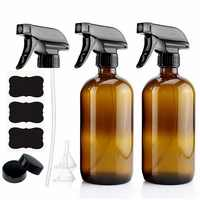 500ml Empty Amber Glass Spray Bottle with Black Trigger Sprayer & Labels for Essential Oils Cleaning Aromatherapy 16 Oz - 2 Pack