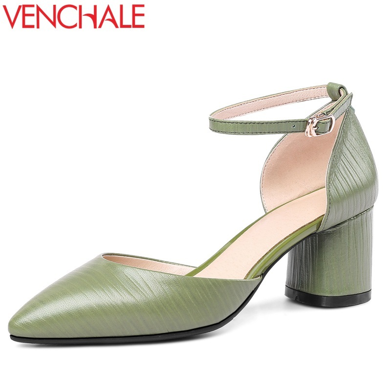 VENCHALE women shoes 2018 summer new fashion sandals heel height 6 cm genuine leather square heel leisure cover heel sandals venchale 2018 new med square heel cow