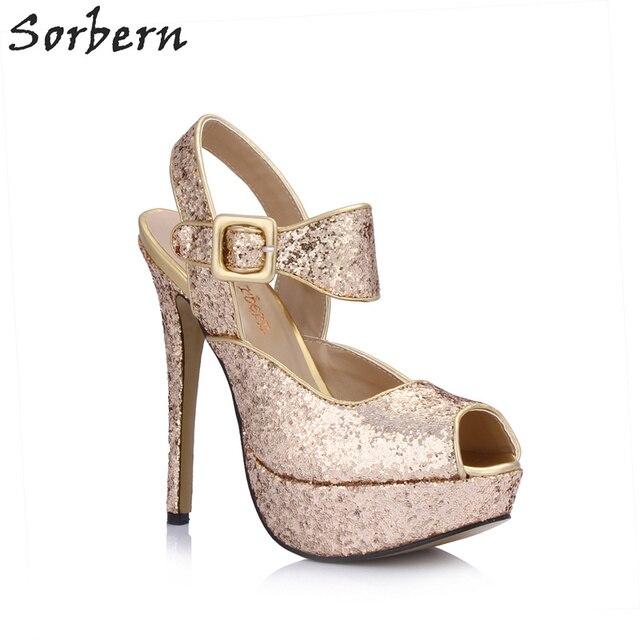 8a36b04066a Sorbern Rose Gold Peep Toe Summer Shoes For Women High Heel Sandals  Platform Shoes Female Night Party Heels Custom Colors