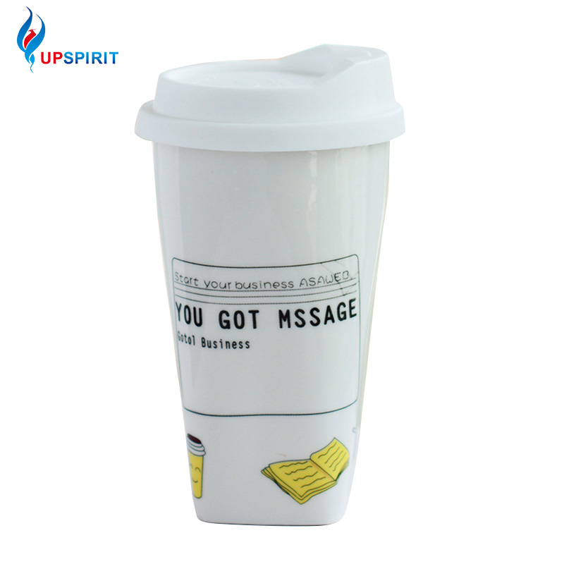 UPSPIRIT 300mL Insulation Ceramic Message Reminder Mug with Lid for Coffee Milk Tea Water Creative Cartoon Drinkware Cute Gift
