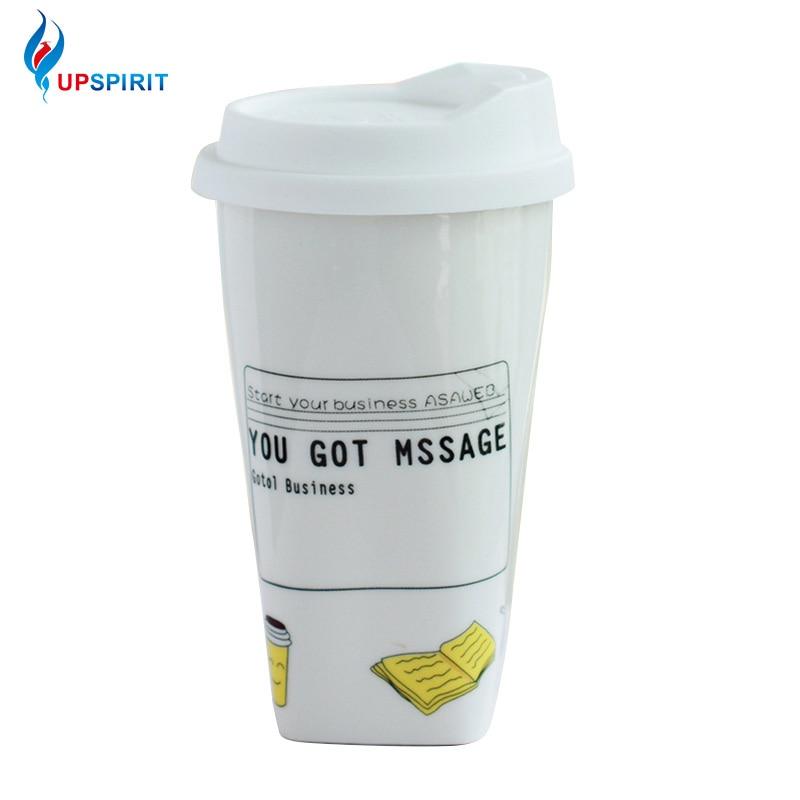 UPSPIRIT 300mL Insulation Ceramic Message Reminder Mug with Lid for Coffee Milk Tea Water Creative Cartoon Drinkware Cute Gift