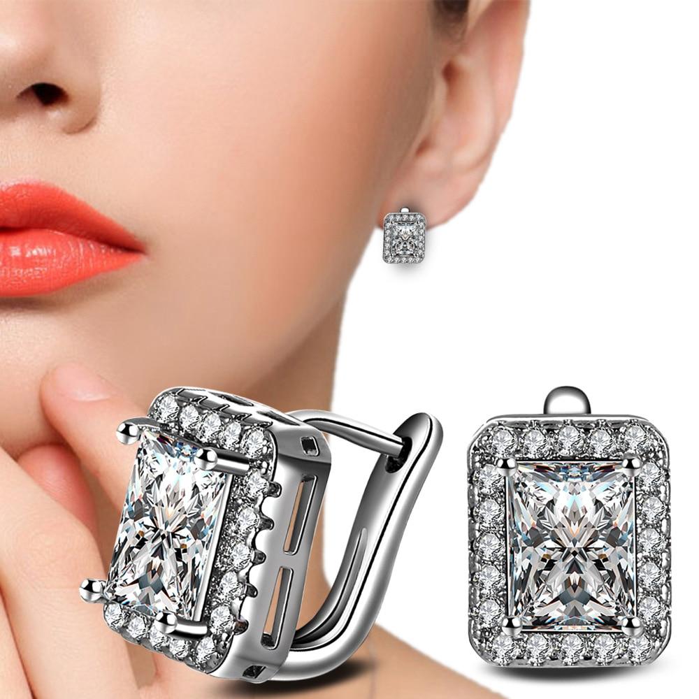 RUOYE Mode Frauen Bolzenohrrings Luxus AAA Zirkon Ohrring Quadrat - Modeschmuck - Foto 5